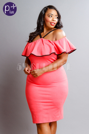 Plus Size Contrast Flounce Midi Tube Dress