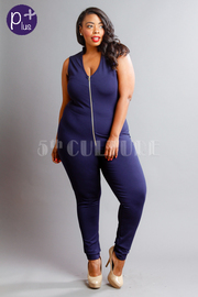 Plus Size Zipper Down Fit Jersey Jumpsuit