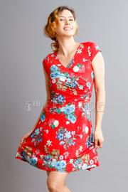 Surplice Cap Sleeved Floral Dress