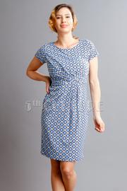 Short Sleeved Pattern Flared Dress