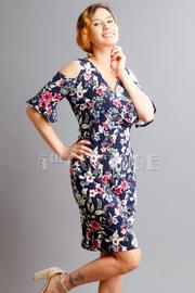 Cold Shoulder Surplice Floral Dress