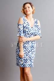 Cold Shoulder Circle Printed Dress