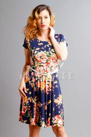 Floral Short Sleeved Flared Belt Dress