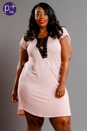 Plus Size Cute Tie Up Short Sleeved Mini Dress