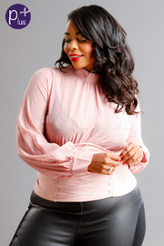 Plus Size Classy Sheer Tie Up Blouse