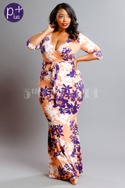 Plus Size Spring Floral Surplice Maxi Mermaid Dress
