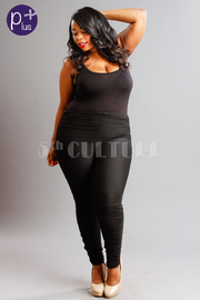 Plus Size Solid & Ruched Mesh Sexy Jumpsuit