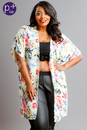Plus Size Open Floral Sheer Cardigan