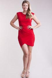 Plus Size Cap Sleeved Mini Overlap Dress