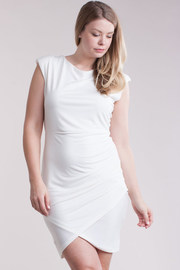 Plus Size Cap Sleeved Mini Overlap Dress