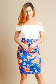 Off Shoulder Solid & Floral Bodycon Dress