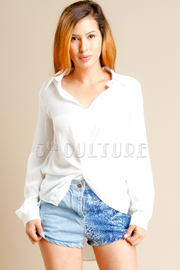 Collared Knotted Front Hi Lo Shirt