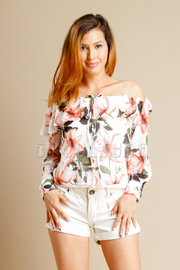 Off Shoulder Hawaiian Floral Blouse