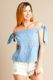 Sweet Chambray Off Shoulder Top