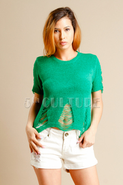 Distressed Ramie Knit Short Sleeved Top