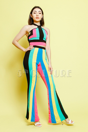 Very Colorful Striped Cropped Halter 2-Piece Pants Set