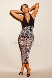 Solid & Sexy Tribal Midi Mesh Tube Dress