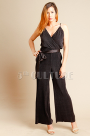 Silky Tie Up Flared Jumpsuit