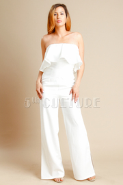 Strapless Flounce Flared Jumpsuit