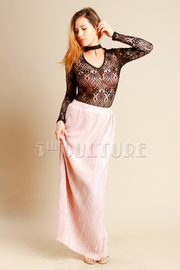 Pretty In Pleated Silky Maxi Skirt