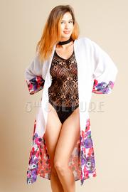 Floral Trim Long Kimono Cardigan