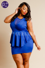 Plus Size V-neck Mesh Trim Peplum Mini Dress