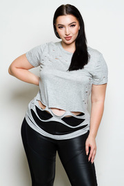 Plus Size Basic Distressed Cutout Summer Top