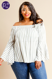 Plus Size Off Shoulder Striped Bell Sleeved Top