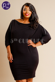 Plus Size Sexy Tube Zipper Off Shoulder Trim Dress