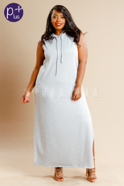 Plus Size Sliced Back Hoodie Terry Maxi Dress