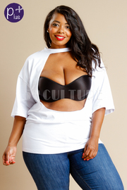 Plus Size 2-Way Hole Cutout Solid Top
