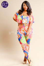 Plus Size Mixed Bohemian Printed Cropped Flounce Pants 2-Piece Set