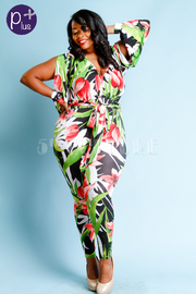 Plus Size Surplice Tropical Slit Sleeved Tie Sexy Jumpsuit