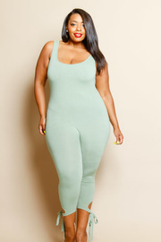 Plus Size Tie Bottom Detail Yoga Jumpsuit