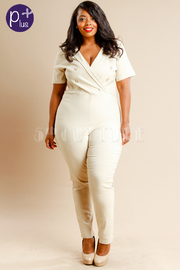Plus Size Surplice Sailor Collared Sexy Bengaline Jumpsuit