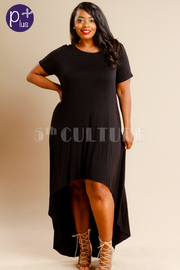 Plus Size Basic Summer Hi Low Jersey Dress
