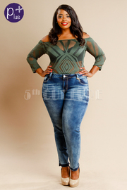 Plus Size Sexy In Denim Washed 5-Pocket Jeans