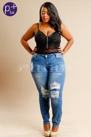 Plus Size Ripped Denim Fashion Jeans