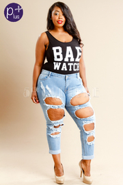 Plus Size All Over Hole Rocker Jeans