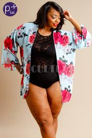 Plus Size Cute Floral Sheer Kimono Cardigan