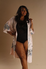 Plus Size Floral Sheer Long Kimono Cardigan