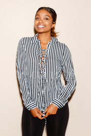 Tie Up Striped Sheer Long Sleeved Blouse