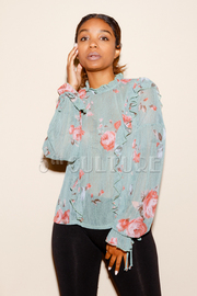 Long Sleeved Casual Floral Blouse