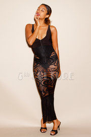 Solid & Baroque Zip Down Lacey Tube Dress