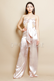 Silky 2-Piece Bow Tie Cropped Palazzo Pants Set