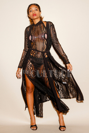 Out In The Night Gothic Laced 2-Piece Maxi Dress With Long Cardigan Set