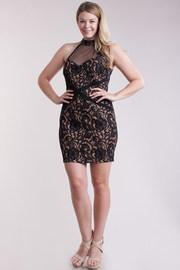 Plus Size Sweetheart Mesh Lacey Baroque Dress