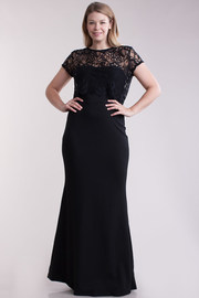 Plus Size Elegant Glam Maxi Dress With Laced Cropped Top