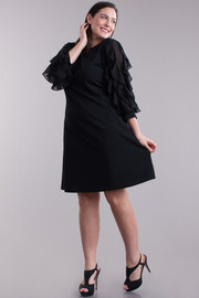Plus Size Delicate Sheath Ruffled Sleeved Midi Dress