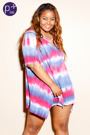 Plus Size Cross Straps Tie Dye Tunic Dress